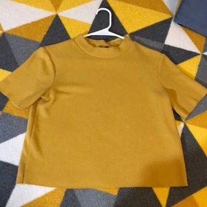 Zara mustard yellow soft mock neck tee size M